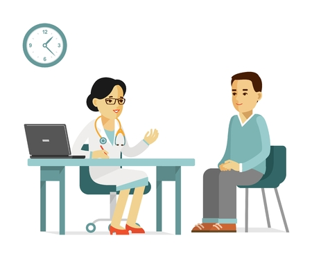 Practitioner doctor woman and young man patient in hospital. Consultation and medical diagnosis.