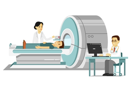 Ilustración de Medicine concept MRI scan and diagnostics in flat style isolated on white background. Young doctor man scanning patient with scanner machine in hospital. Consultation and medical diagnosis. - Imagen libre de derechos