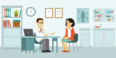 Illustration pour Medicine concept with doctor and patient in flat style. Practitioner doctor man and young woman patient in hospital medical office. Consultation and diagnosis. - image libre de droit