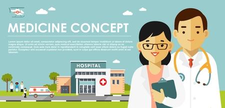 Ilustración de Medicine concept with doctors in flat style isolated on blue background. - Imagen libre de derechos