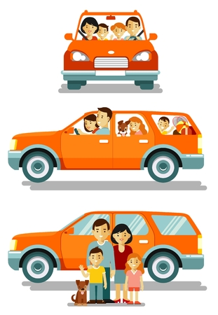 Illustration for Happy family traveling by car in different views front and side. People set father, mother and children sitting in automobile and standing together. Vector illustration in flat style isolated on white background. - Royalty Free Image