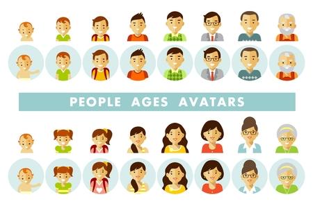Ilustración de Set of people avatars at different ages vector illustration - Imagen libre de derechos