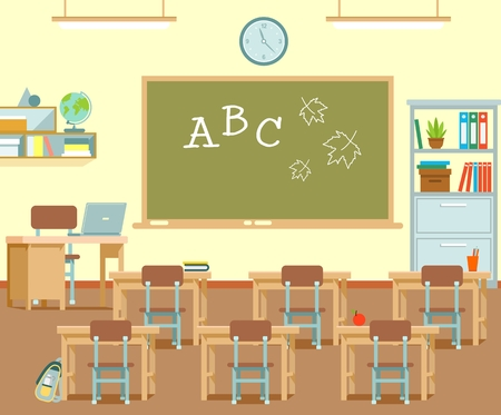 Illustration pour Modern class room interior. Vector illustration in flat style - image libre de droit