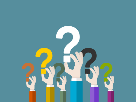 Flat design modern vector illustration concept of questioning with isolated hands holding question marks