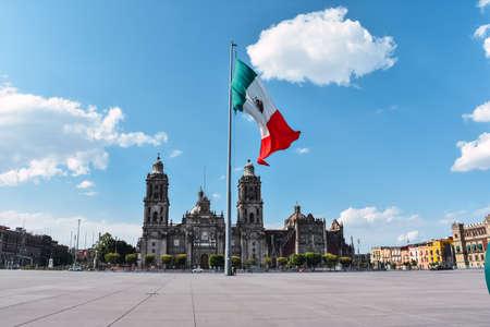 Photo pour Zocalo square and metropolitan cathedral in the historic center of Mexico City - image libre de droit
