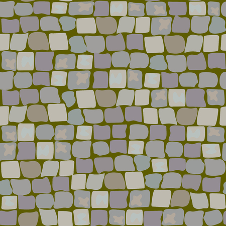 Old Paving Stones with moss and turf. Road Texture seamless pattern. wall of stone, cobbled street