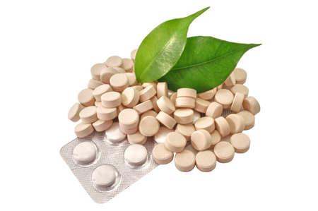 Pills Bio tablets Medicine with green leaf
