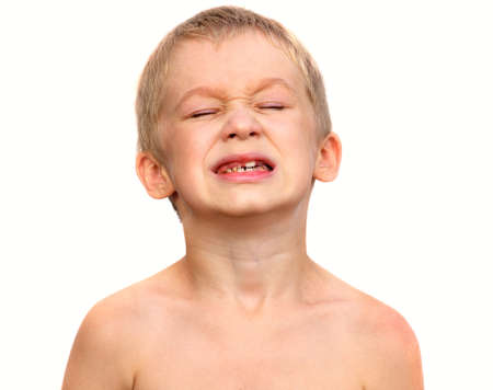 Little Boy Child making sore crying Face showing Calf