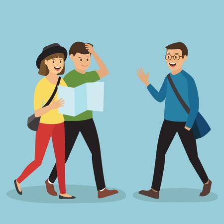 Illustration pour Young Tourist Couples Asking a Man for Direction - image libre de droit