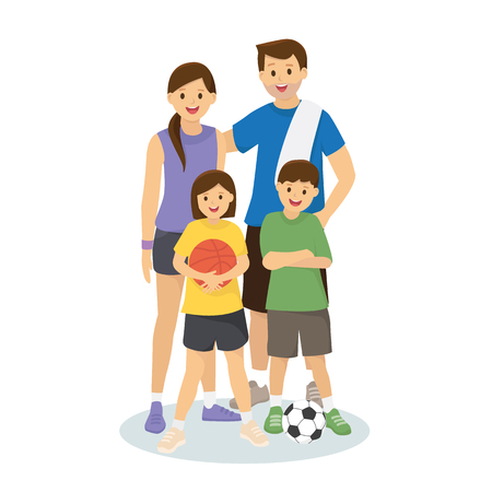 Illustration pour Family and kids in workout clothes with basketball and footbal - image libre de droit