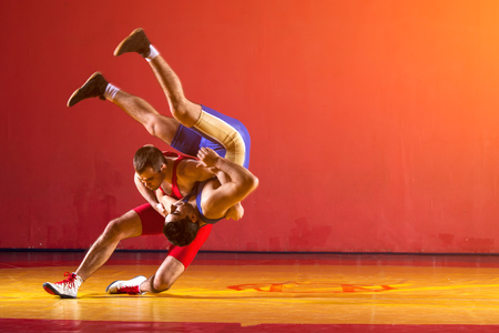 Photo pour Two greco-roman  wrestlers in blue uniform wrestling   on a yellow wrestling carpet in the gym - image libre de droit