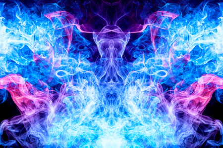 Photo pour Fantasy print for clothes: t-shirts, sweatshirts.  Colorful pink and blue smoke in the form of a skull, monster, dragon on a black isolated background. - image libre de droit