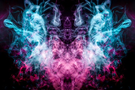 Fluffy Puffs  blue and pink smoke and Fog in the form of a skull, monster, dragon  on Black Background. Fantasy print for clothes: t-shirts, sweatshirts.