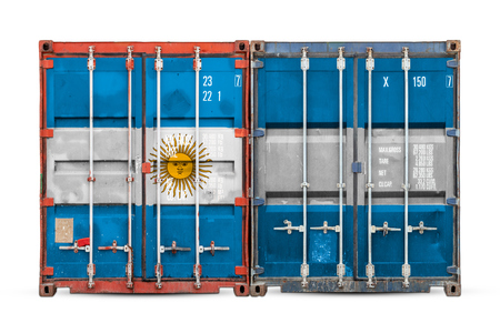 Photo for The concept of Argentina  export-import and national delivery of goods. Close-up of the container with the national flag of Argentina on white isolated background. - Royalty Free Image