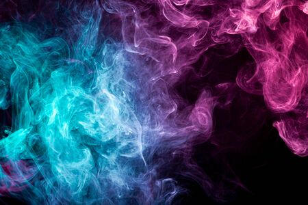 Photo for Fog colored with bright pink gel smoke on dark background - Royalty Free Image