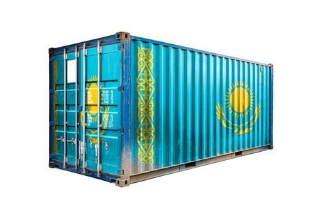 Photo pour The concept of  Kazakhstan export-import, container transporting and national delivery of goods. The transporting container with the national flag of Kazakhstan, view front - image libre de droit