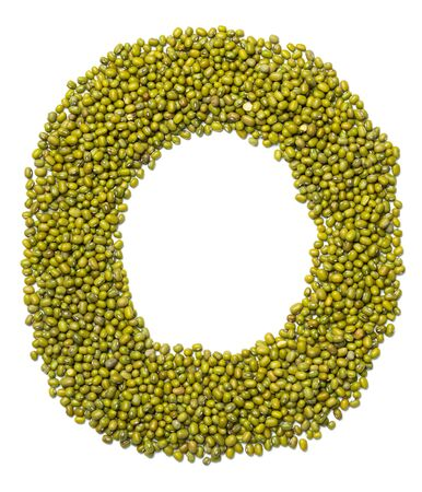 Foto de Letter O of the English alphabet from green mung bean on a white isolated background. Food pattern made from mung. Bright alphabet for shops.  - Imagen libre de derechos