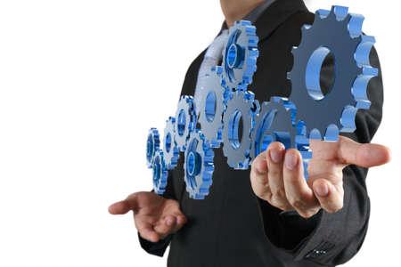 Photo pour businessman hand show gear to success as concept - image libre de droit