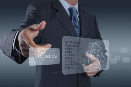 businessman hand shows logistics diagram as conceptの写真素材