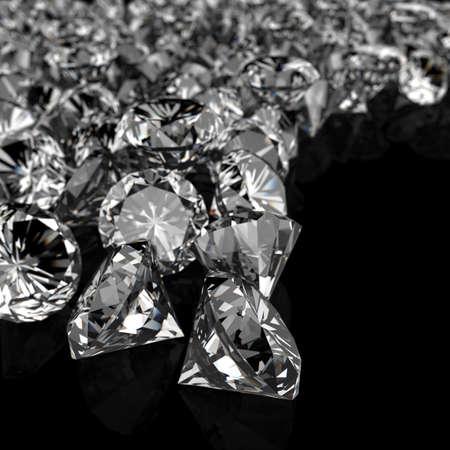 Foto de diamonds on black surface background - Imagen libre de derechos
