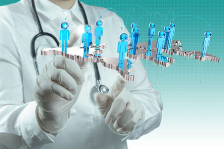 scientist doctor hand touch virtual medical network concept
