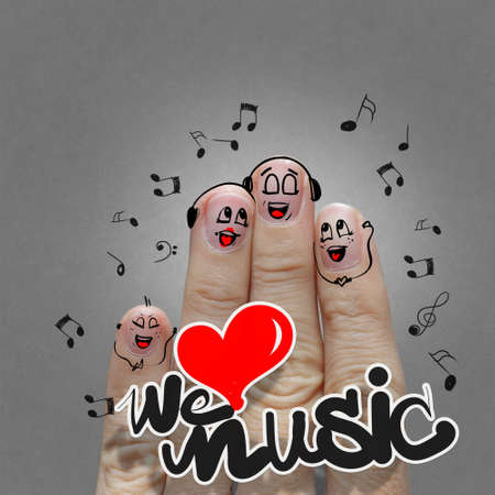 the happy finger family holding we love music and sing a song