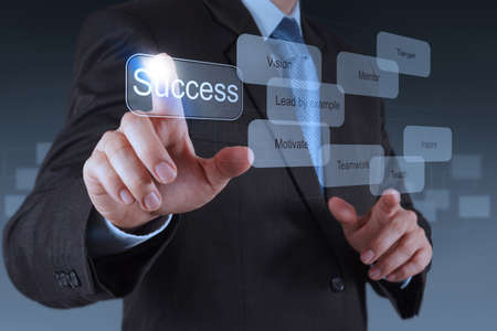 Photo for businessman hand pointing to success diagram as concept - Royalty Free Image