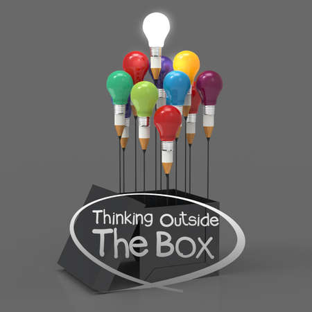 Photo for drawing idea pencil and light bulb concept think outside the box as creative and leadership concept - Royalty Free Image
