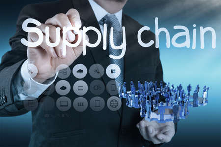 business man writing supply chain management concept by flow from supplier to customer