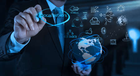 Photo for businessman working with new modern computer show social network structure - Royalty Free Image