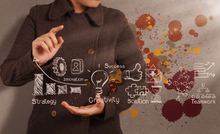 Photo pour businessman hand working with the art of business strategy as concept - image libre de droit