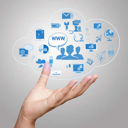 Photo pour  hand showing a Cloud Computing diagram on the new computer interface as concept - image libre de droit