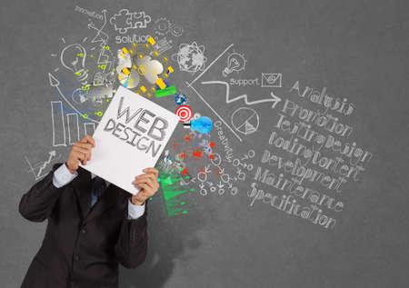 Photo pour businessman hand show book of web design and diagram icons on texture background as concept - image libre de droit