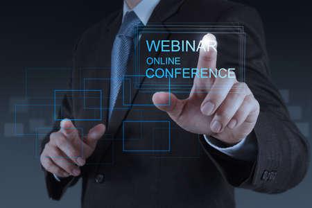 Photo pour businessman hand show webinar online conference as concept - image libre de droit