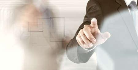 Photo pour businessman hand pressing button with contact on virtual screens as concept  - image libre de droit