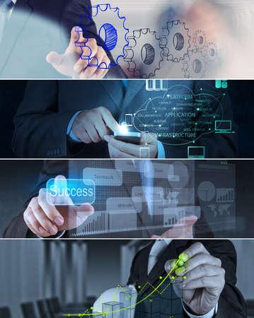 Photo pour Collage of photo business strategy as concept - image libre de droit