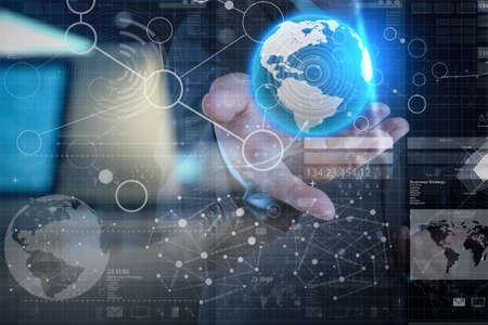 Foto de businessman hand working with modern technology and digital layer effect as business strategy concept - Imagen libre de derechos