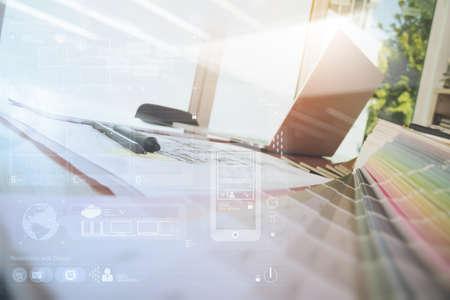 Photo pour Designer workspace with laptop computer and smarth phone and digital tablet with digital design diagram layer on wooden desk as responsive web design concept - image libre de droit