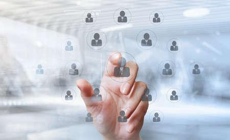 Photo pour double exposure of businessman hand points the human resources, CRM and social media diagram as concept - image libre de droit