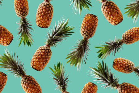 Photo pour Retro design tropical style concept.Pattern with hipster pineapple summer decoration background - image libre de droit