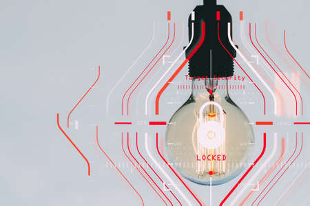 Photo for General Data Protection Regulation (GDPR) and Security concept.Computer Halogram target protection locked with success on light bulb as business creative working and technology. - Royalty Free Image