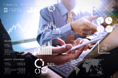 Photo pour Financial report data of business operations (balance sheet and income statement and diagram) as Fintech concept.Business team meeting present. professional investor working new startup project. Finance managers meeting. - image libre de droit