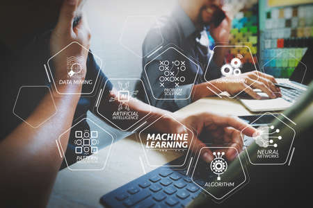 Machine learning technology diagram with artificial intelligence (AI),neural network,automation,data mining in VR screen.Coworking process, entrepreneur team working in creative office space using digital tablet