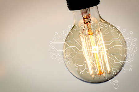 Photo for Artificial Intelligence (AI),machine learning with data mining technology on virtual dachboard.vintage light bulb with copy space as creative concept - Royalty Free Image