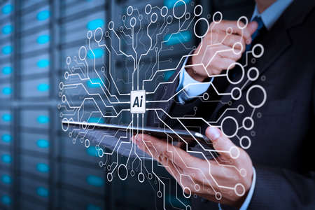 Photo for Artificial Intelligence (AI),machine learning with data mining technology on virtual dachboard.businessman hand using tablet computer and server room background. - Royalty Free Image
