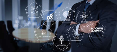 Machine learning technology diagram with artificial intelligence (AI),neural network,automation,data mining in VR screen.businessman success with his board room background