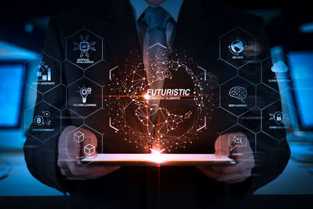 Photo pour Futuristic in Industry 4.0 and business virtual diagram with Ai, robot assistant, Cloud, big data and automation. success businessman hand working with digital tablet computer. - image libre de droit