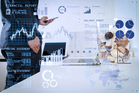 Investor analyzing stock market report and financial dashboard with business intelligence (BI), with key performance indicators (KPI).businessman,designer hand standing,using smart phone,laptop, online banking payment.