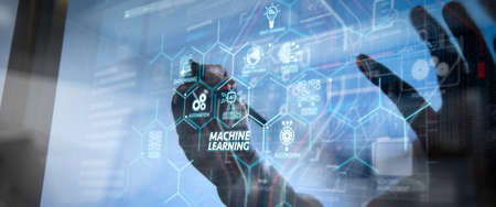 Photo pour Machine learning technology diagram with artificial intelligence (AI),neural network,automation,data mining in VR screen.businessman hand working with modern technology and digital layer effect. - image libre de droit