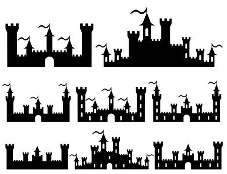 Set of Fantasy castles silhouettes for design. Vector illustration